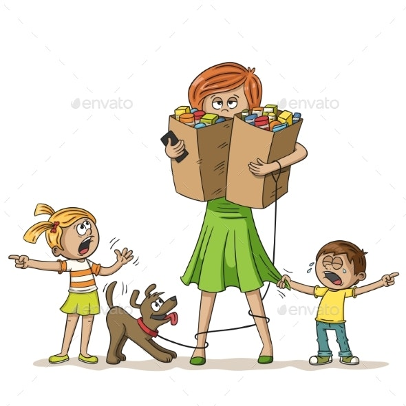 Stressed Woman With Children - People Characters