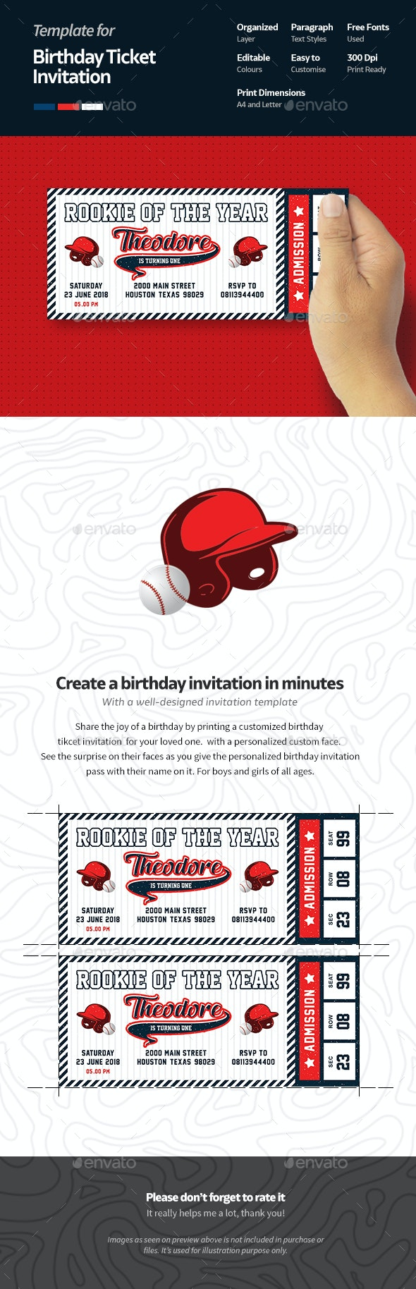 Baseball Birthday Invitation Ticket - Birthday Greeting Cards