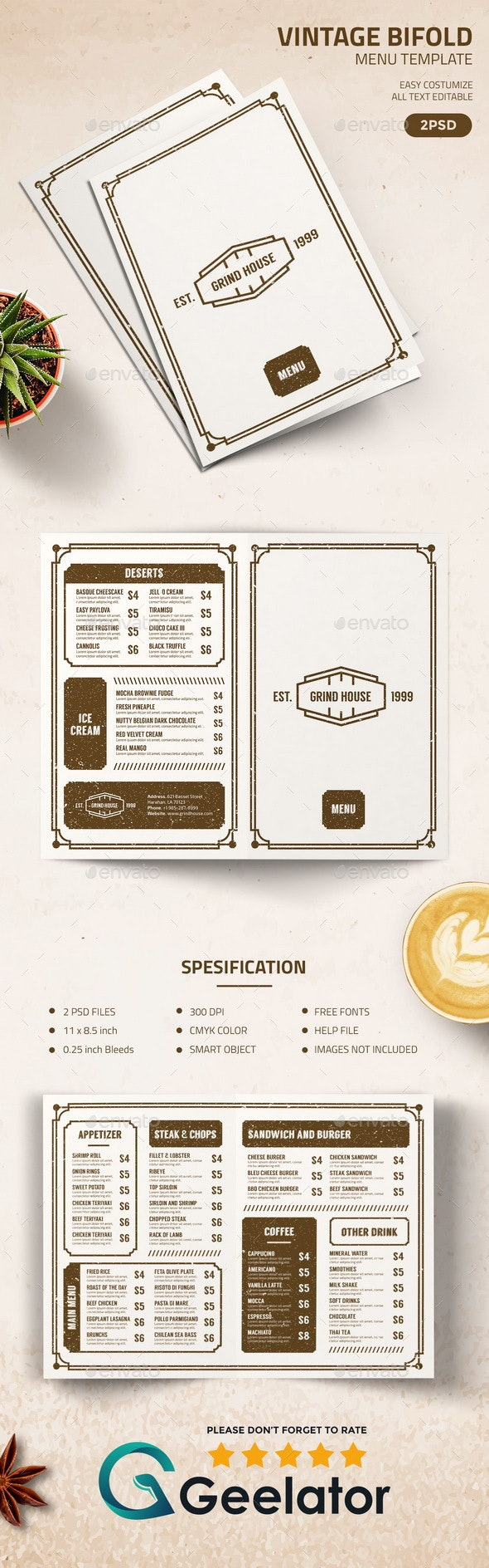 Vintage BiFold Menu Template - Food Menus Print Templates