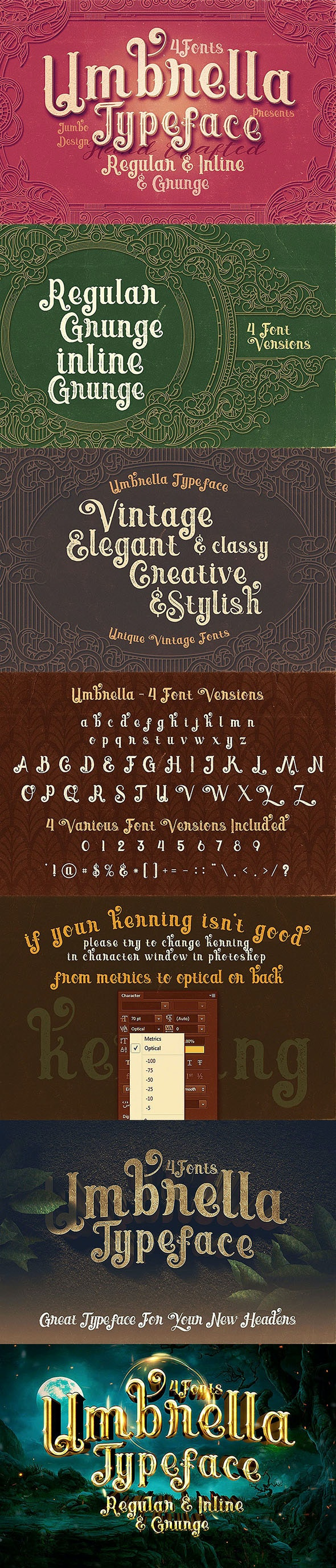 Umbrella - 4 Display Fonts - Decorative Fonts