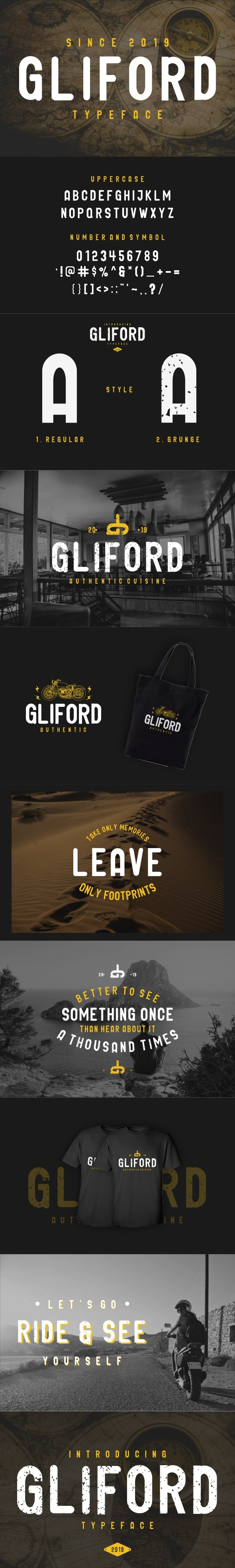 GLIFORD : Retro BOLD Sans Serif - Grunge Decorative