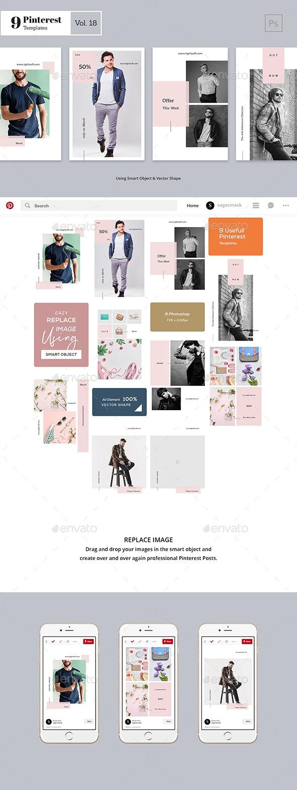Pinterest Templates Vol. 18 - Social Media Web Elements