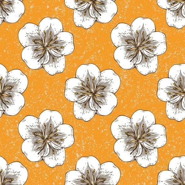 Apricot Flowers Seamless Pattern - Patterns Decorative
