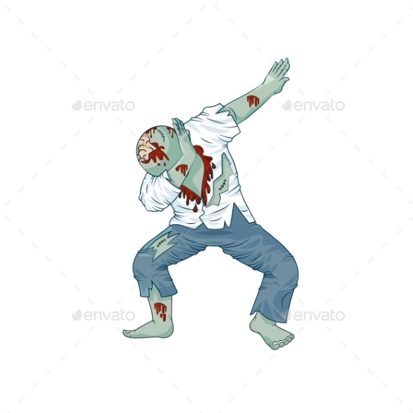 Zombie Walking Dead Man Character Dancing Dab Step - Miscellaneous Characters