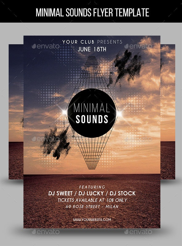 Minimal Sounds Flyer Template - Clubs & Parties Events