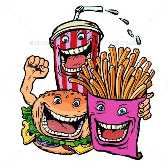 Burger Cola Drink Fries Potatoes. Fast Food - Food Objects