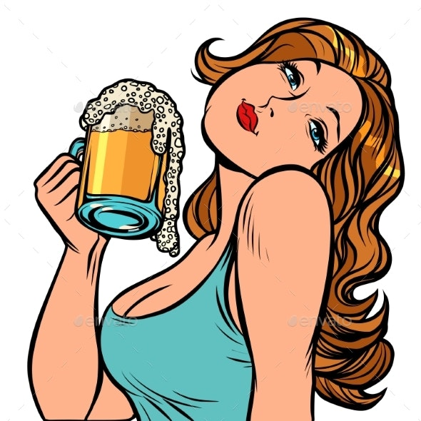 Woman with a Mug of Beer in Profile. Isolate on - People Characters