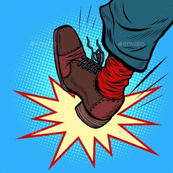 Man Leg Kick Anger Aggression - People Characters