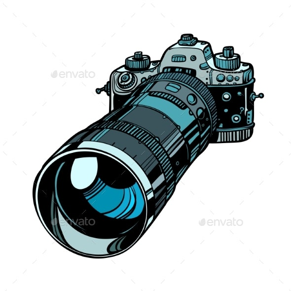 Camera with Telephoto Lens Isolate on White - Man-made Objects Objects