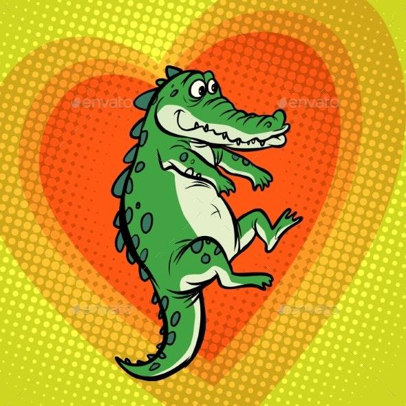 Crocodile Character, Cute Heart Love - Animals Characters