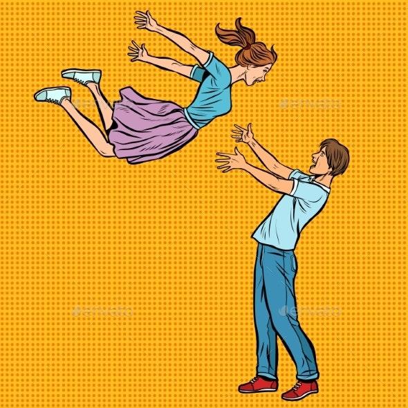 Loving Couple Hugs Meeting, Girl Flies - People Characters