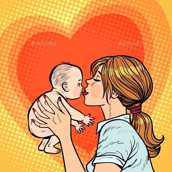 Mom Kisses Baby, Woman Mother - People Characters
