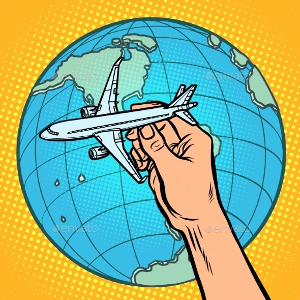 Plane in Hand. Metaphor of Flight To the Western - Man-made Objects Objects