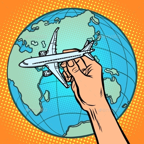 Plane in Hand. Metaphor of Flight To the Eastern - Man-made Objects Objects