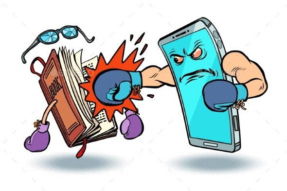 Smartphone Against Book. Enmity of Technology and - Miscellaneous Vectors