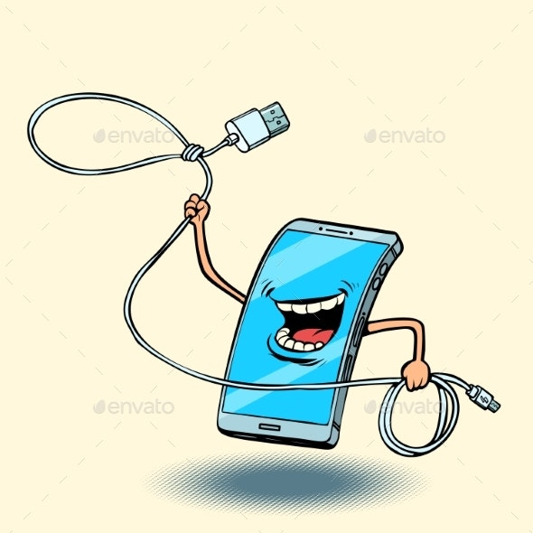 Smartphone and Usb Cord. Lasso - Technology Conceptual