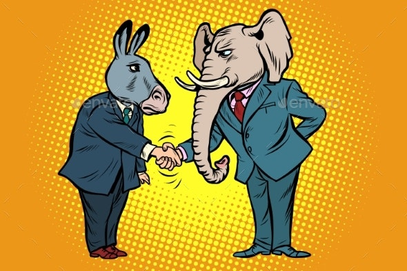 Donkey Shakes Elephant Hand. Democrats Republicans - Animals Characters
