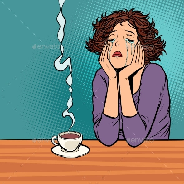 Lonely Unhappy Woman. Cup of Hot Coffee - Food Objects
