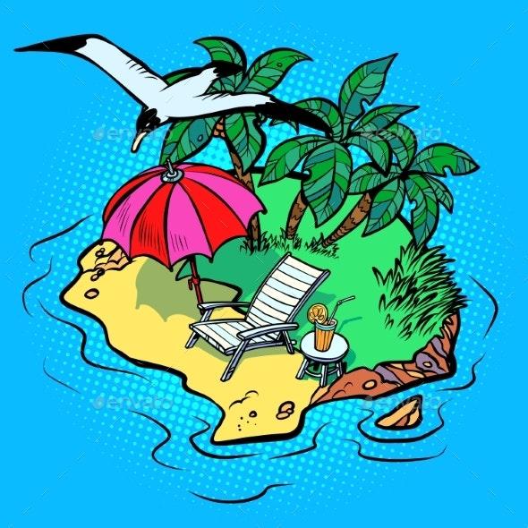 Tropical Island Tourist Resort Beach Chaise Longue - Landscapes Nature