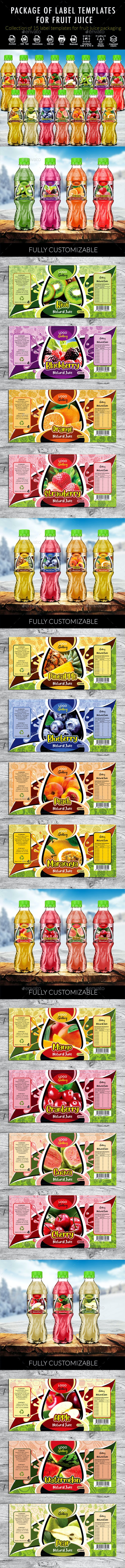 Label Template Pack for Fruit Juice Packaging - Packaging Print Templates