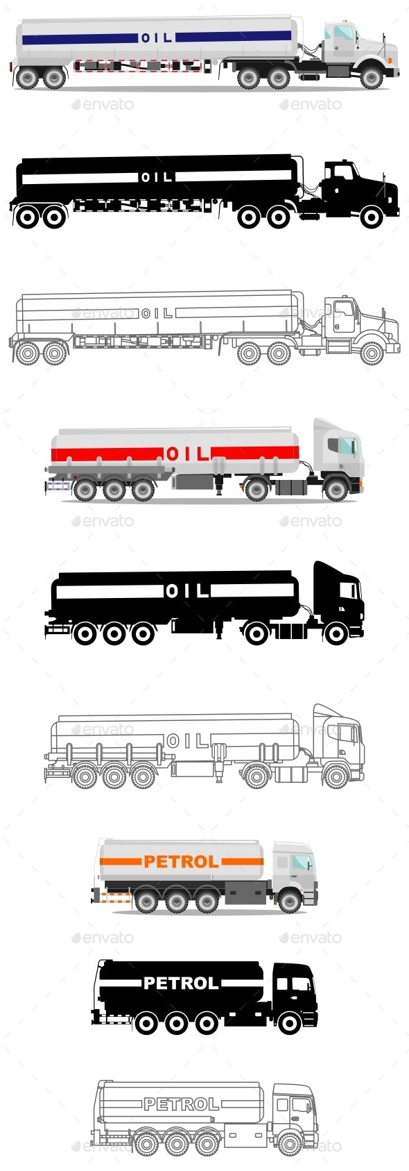 Industry Concept Set of Gasoline Trucks - Man-made Objects Objects