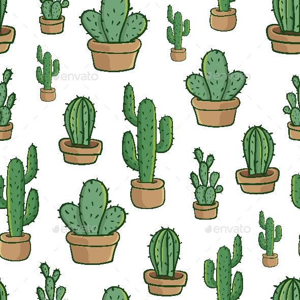 Cactus Cartoon Seamless Pattern Wrapping Paper Vector