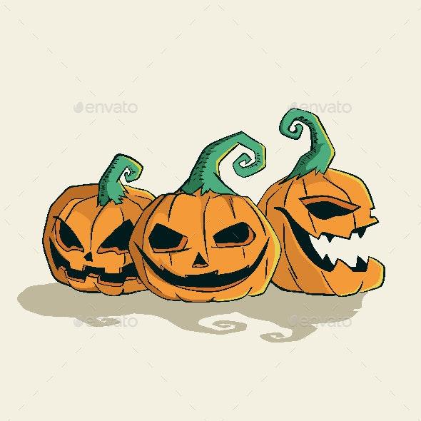 Halloween Pumpkin Head Scary Face - Halloween Seasons/Holidays