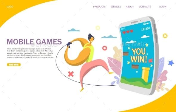 Mobile Games Vector Website Landing Page Design - Computers Technology