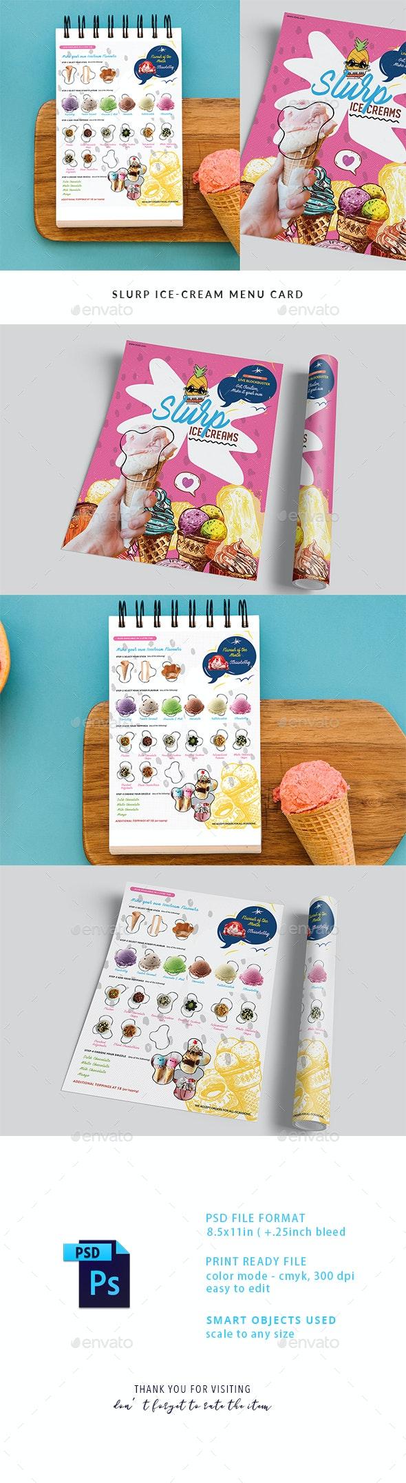 Slurp Ice-Cream Menu Card - Food Menus Print Templates