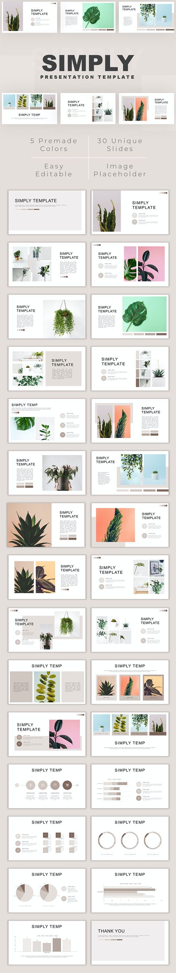 Simply - Minimalist Plant PowerPoint Template - Creative PowerPoint Templates