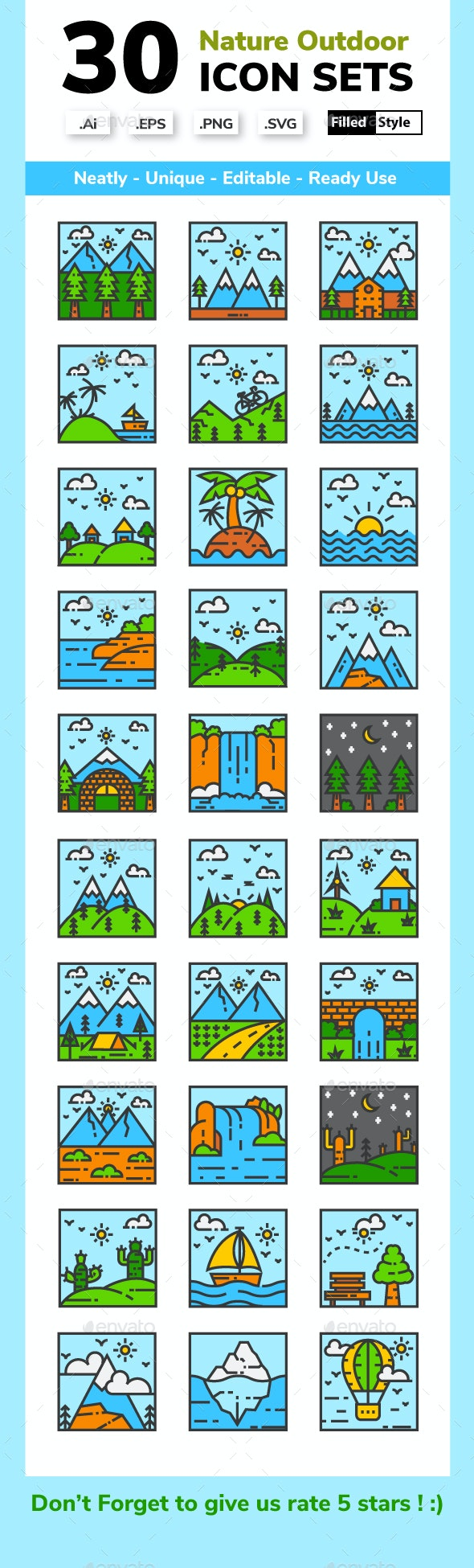 Nature Landscape - Filled Line - Miscellaneous Icons