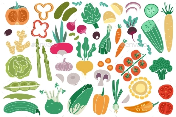 Color Vegetables Tomato Zucchini Potatoes - Food Objects