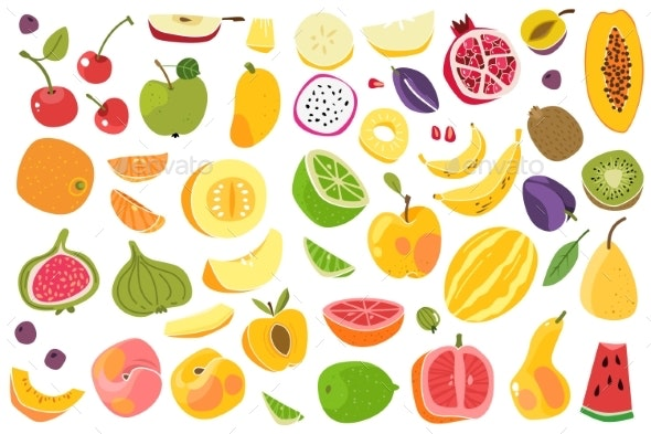 Fruits Isolated - Food Objects