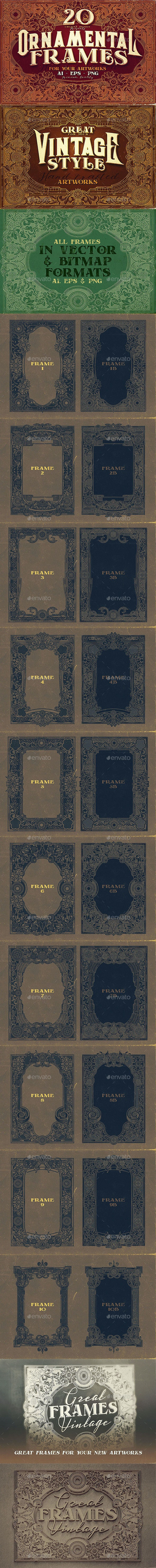 20 Ornamental Vintage Frames - Decorative Graphics