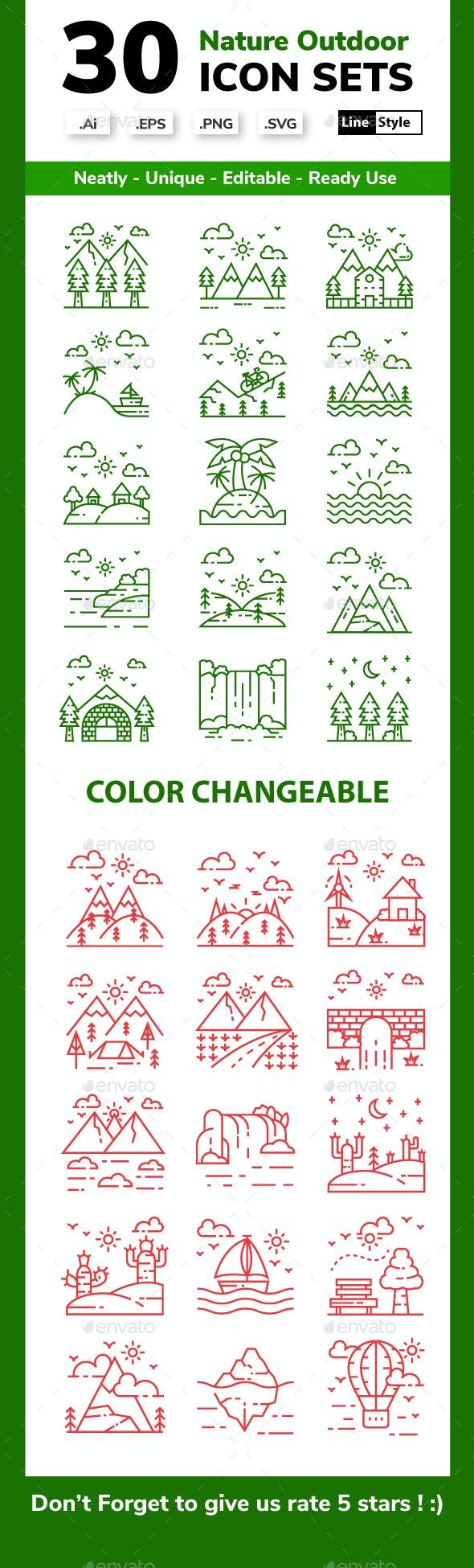 Nature Landscape - Line Icon Set - Miscellaneous Icons