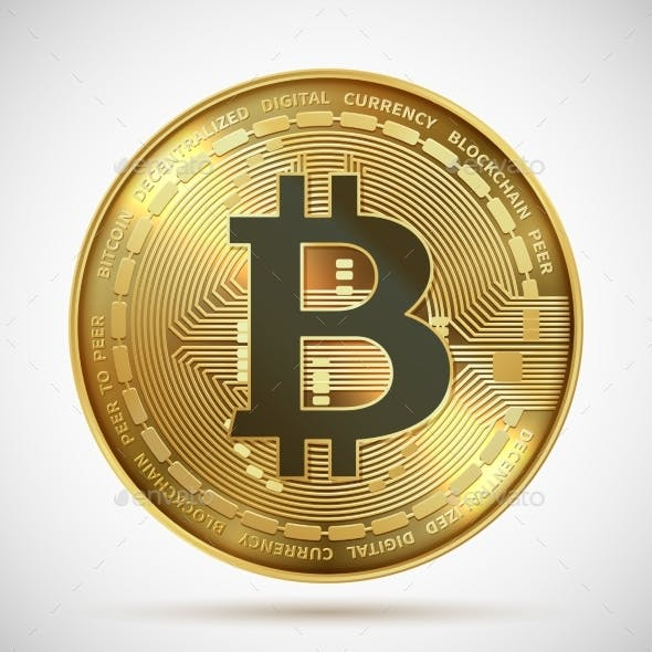 Bitcoin Coin Cryptocurrency Golden Money Digital