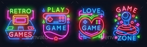 Neon Game Signs Retro Video Games Zone - Man-made Objects Objects