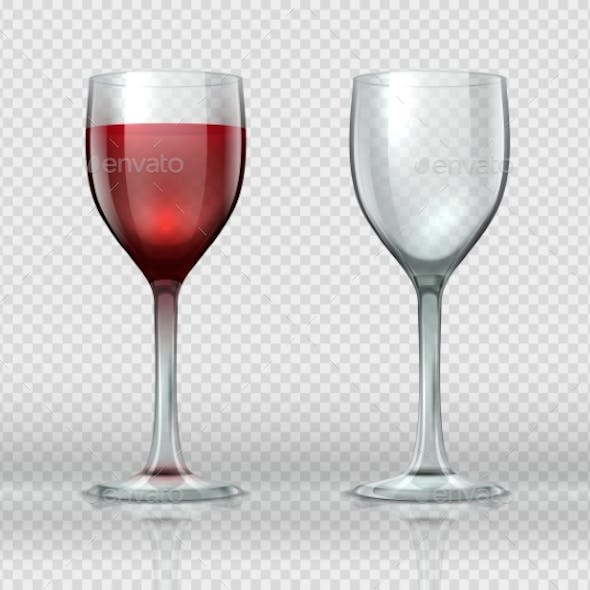 Realistic Wine Glasses Transparent Isolated