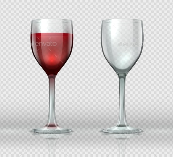 Realistic Wine Glasses Transparent Isolated - Food Objects