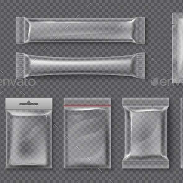 Plastic Package Realistic Clear Bag Mockups