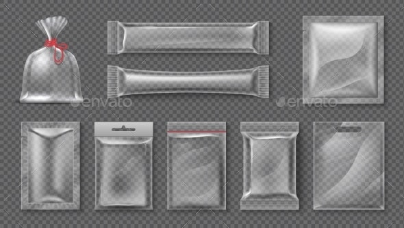 Plastic Package Realistic Clear Bag Mockups - Man-made Objects Objects