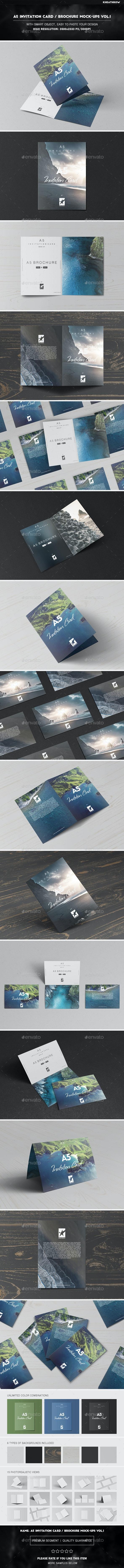 A5 Invitation Card / Brochure Mock-Ups Vol.1 - Brochures Print