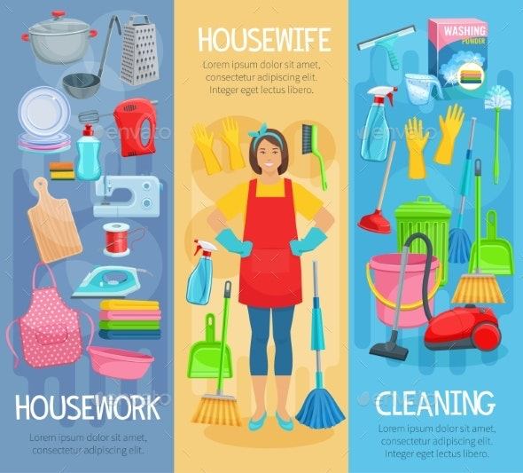 Vector Banners for Home Housework Cleaning Washing - People Characters