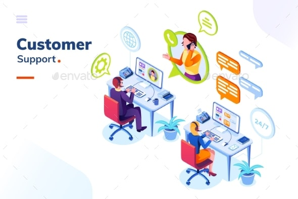 Customer Service, Phone Support Office with People - Services Commercial / Shopping