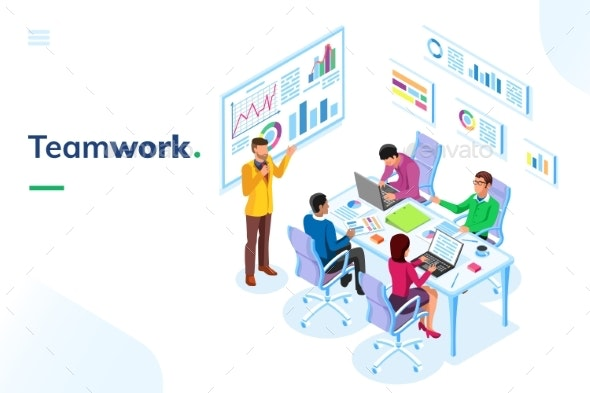 Isometric Office Room with People at Teamwork - Miscellaneous Vectors