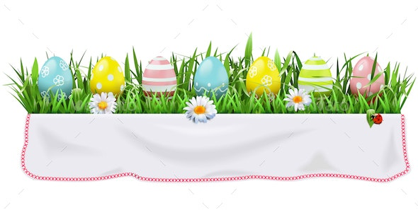 Vector Easter Concept with Tablecloth - Miscellaneous Seasons/Holidays