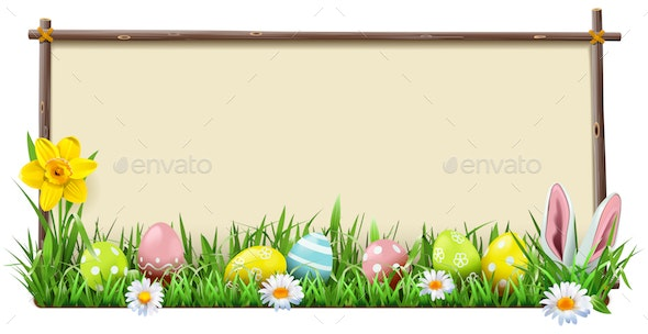 Vector Easter Wooden Frame - Miscellaneous Seasons/Holidays