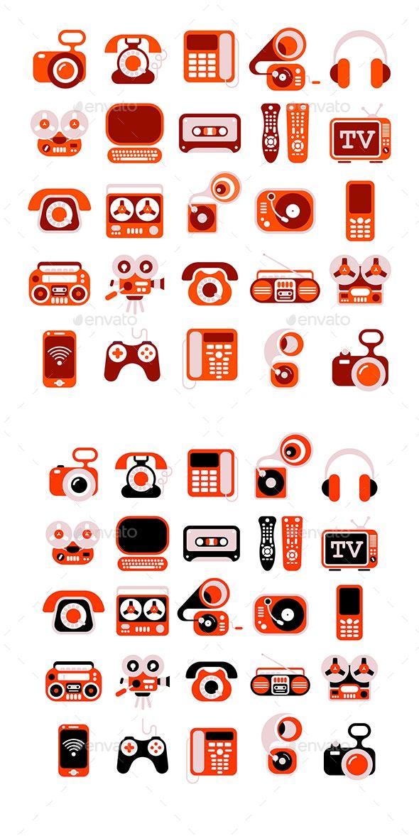 Electronic Devises Vector Icon Set - Icons