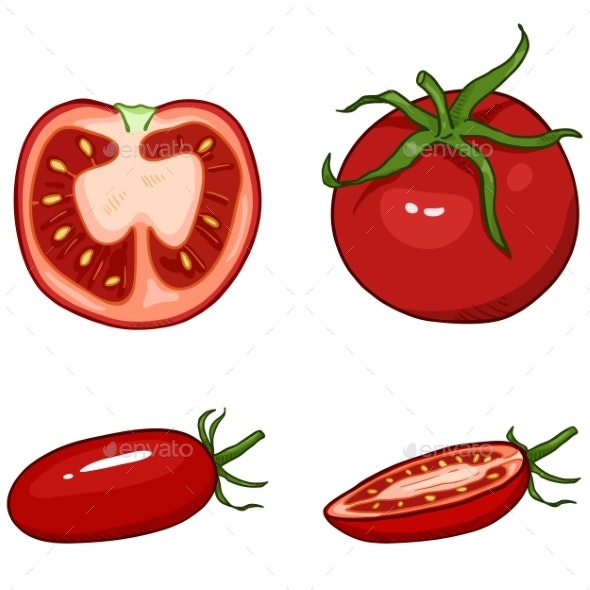 Vector Set of Cartoon Red Tomato - Food Objects