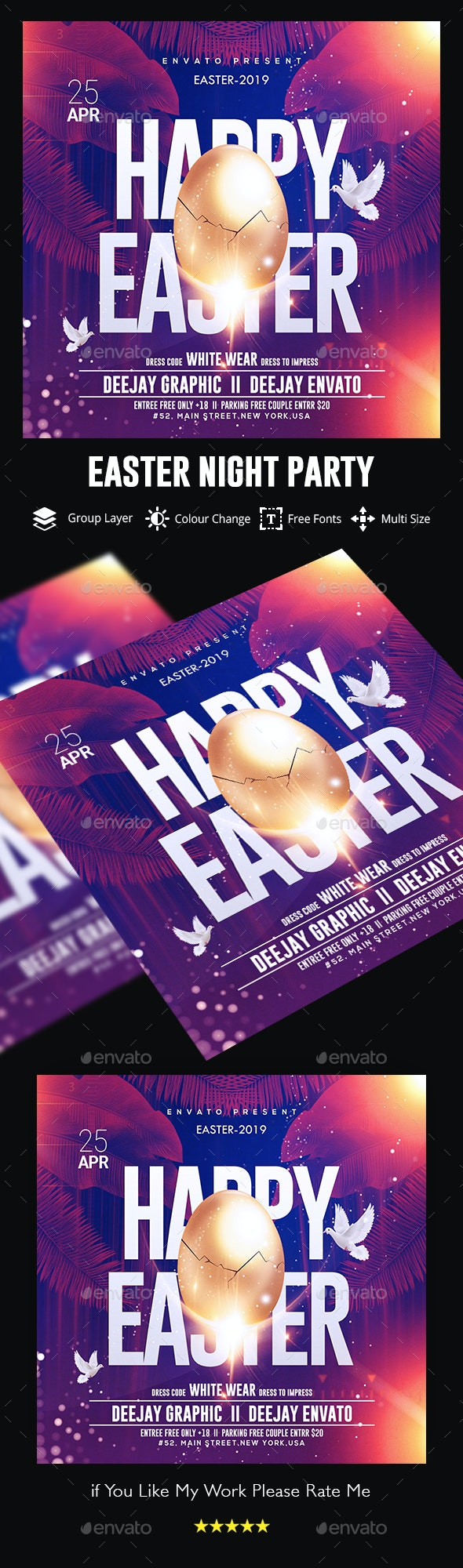 Easter Party Flyer Template - Flyers Print Templates
